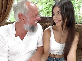 Brunette Anya Krey rides an older man's throbbing cock