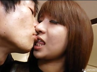 Japanese brunette babe bent over for a hardcore doggy style fuck