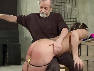 Duteous kinky brunette came to her master to get affianced with an increment of abused