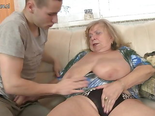 Old busty grandma fucked by young pal