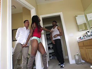 Ebony sweetie Mya Mays makes a blarney disappear down her wet cunt