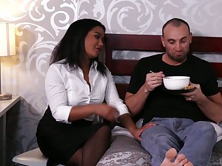 Frowning buxom unsubtle Loni Legend gets intimate with their way white cohort