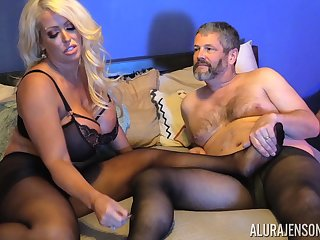 Buxom blonde MILF Alura Jenson gets cum beyond pantyhose after a fuck