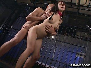Quite chesty Asian bondage slut Yayoi Yanagida takes hardcore double penetration
