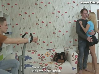Russian girlfriend Marina ties up her boyfriend with an increment of makes him cuckold