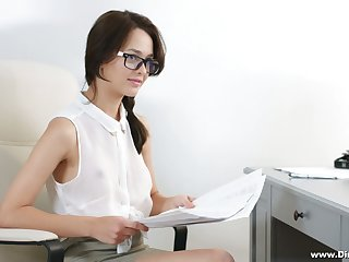 Nerdy secretary in glasses Michelle Can gets double penetrated in the office