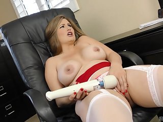 Blonde with simple titties Allison Moore sprayed with cum on face