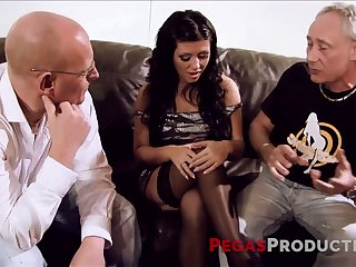 Perverted coupled with charming sexpot is drilled by dudes whose dicks she sucks