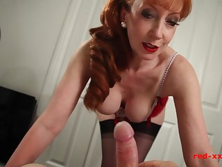 Busty British redhead MILF In flames riding a cock