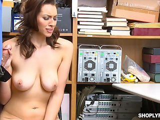 Busty babe gets shop lifting and fucked