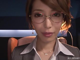 Kimijima Mio masturbates alone before her friend helps her to cum