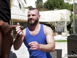 Muscled bearded sickly gay dude gets his asshole despoil by a black guy