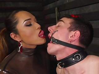 Gorgeous latex clad ts domme gets blown