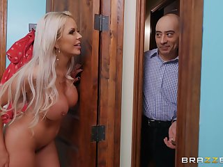 Blonde hottie cheats on her husband with a fresh young man