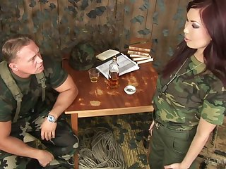 Horny army slut Aisha San deserves perplexed more save for some hard mouthfuck