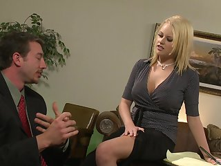 Sexy secretary Codi Carmichael enjoys sex with her colleague in her office