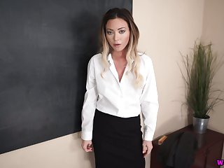 Cum-thirsty teacher Natalia Forrest gives a good blowjob in hot POV scene