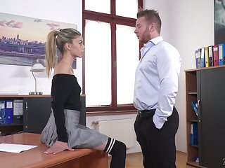 Perverted boss lures his naughty and sexy secretary Ciara Riviera and fucks her anus hard