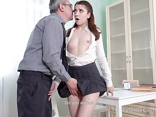 Exact sophomore student Alita Angel loses anal virginity with old teacher