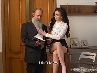 Naughty Russian brunette Milana Witch provides dad with a blowjob