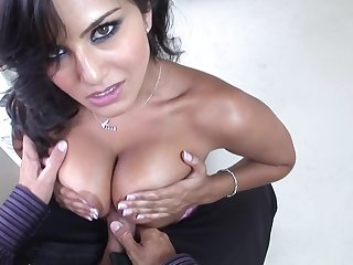 Sunny Leone - latina titty fucking with an increment of getting creampie cumshot