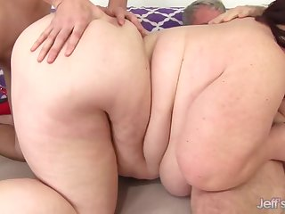 dominate sized BBW helter-skelter fat ass takes 2 dicks in amateur threesome helter-skelter cumshots