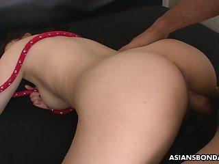 Submissive Asian bondage slut Rina Kiuchi deserves hard canon banging