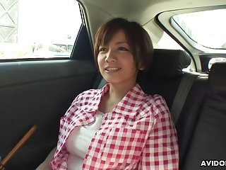 Busty housewife from Japan Meguru Kosaka is accessible for some masturbation