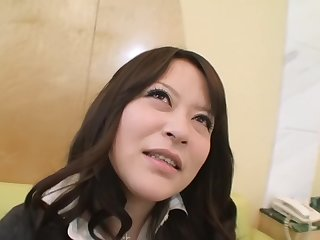 Busty Asian skirt does a blowjob and approvingly more