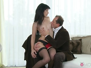 Compacted boobs Lucia Xore moans to the fullest getting fucked in puss added to ass