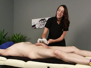 Liz Rainbow is a masseuse who can't resist touching say no to clients' dick