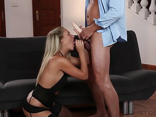 Hot blonde kneels for the sloppiest blowjob before fucking in extreme XXX